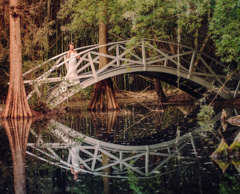 Bridal Portrait on Magnolia Plantation Bridge