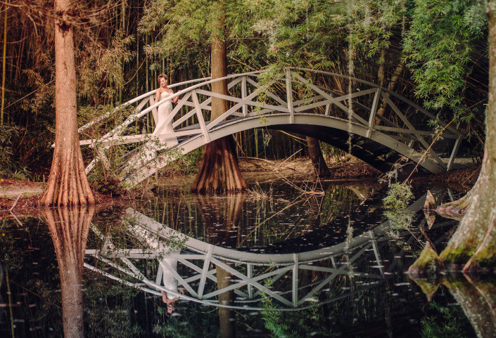 Bridal Portrait on Magnolia Plantation Bridge