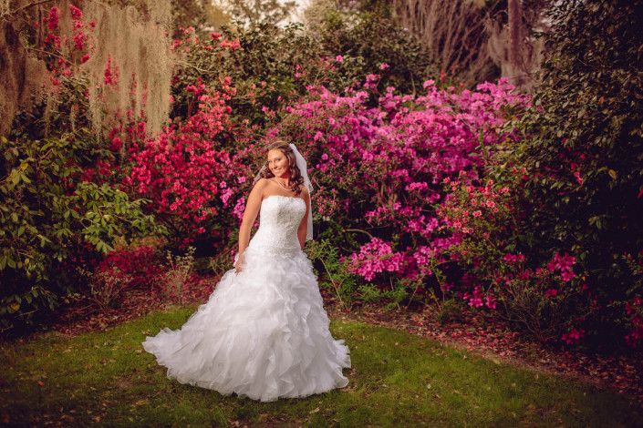 Bridals at in Magnolia Gardens Azaleas