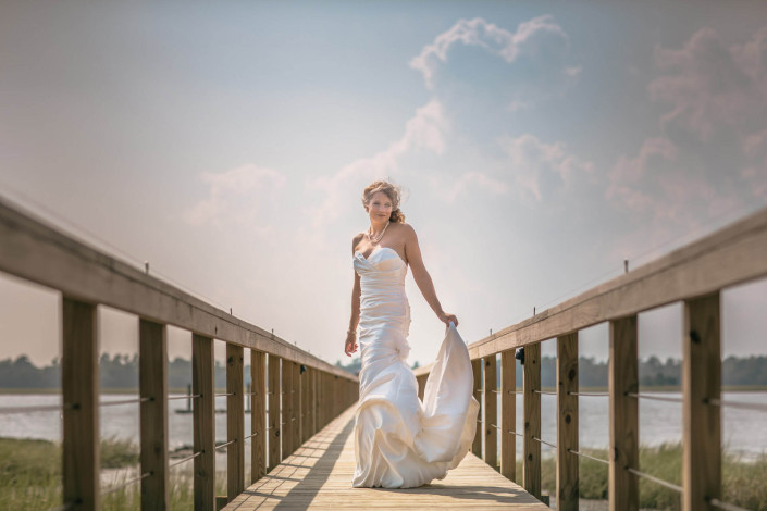 Bride on Lowndes Grove Plantation Dock