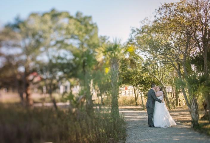 Landscape bride and groom