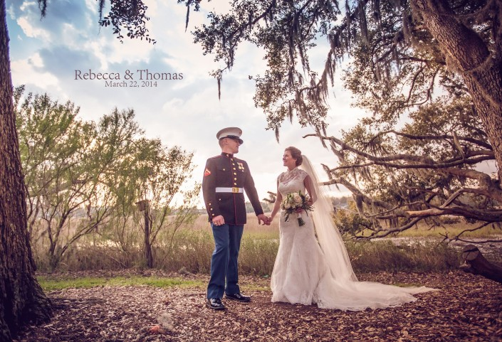 Bride and Groom at Boone Hall Plantation