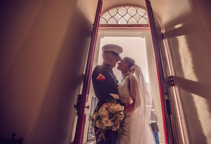 Bride and Groom in the Red Doors