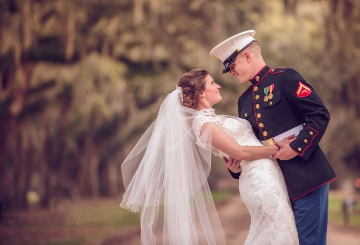 Bride at Boone Hall Avenue of Oaks