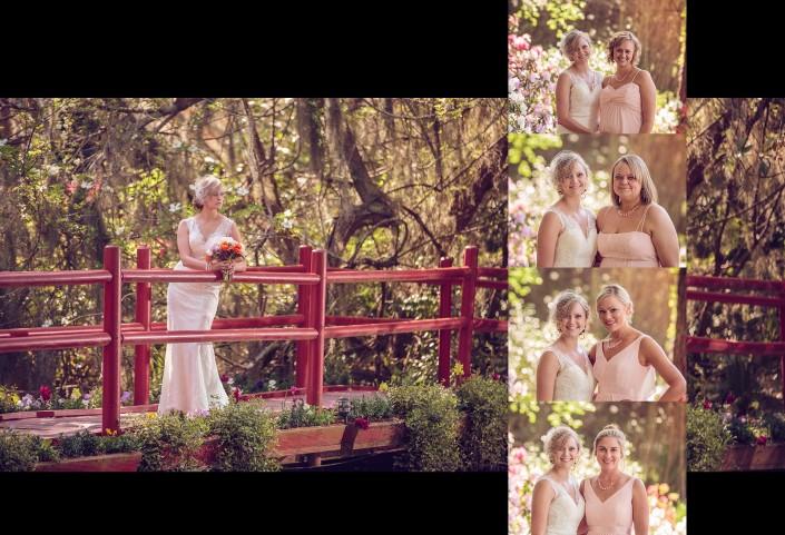 Bride on red bridge