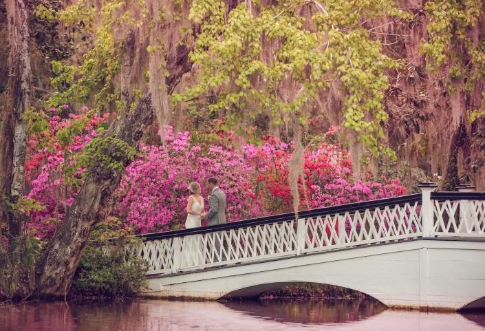 White bridge and azaleas