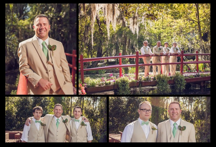 Groomsmen on the Red Bridge