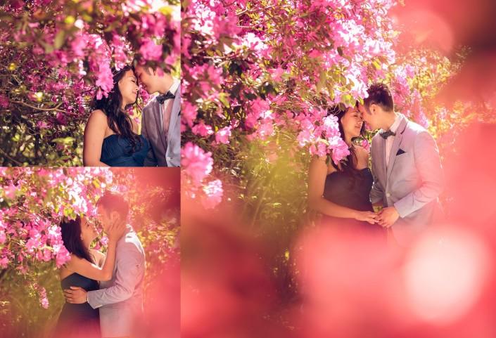 Bride and Groom in the Azaleas