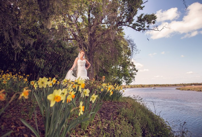 Bridal Portrait Over the Ashley River