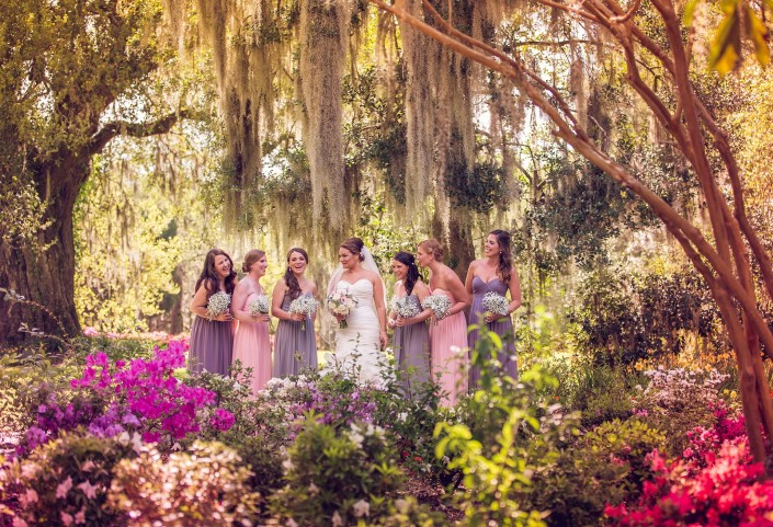 Bridesmaids in the flowers