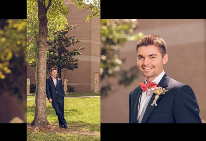 Groom's Portraits outside Immaculate Conception Church