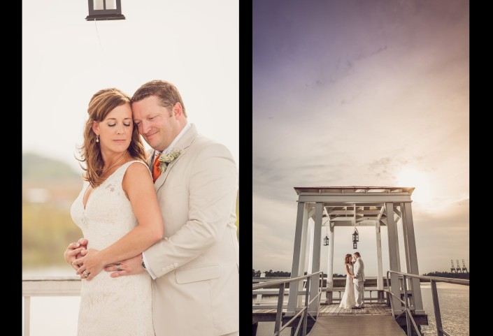 Bride and Groom Portraits on the Pier Gazebo
