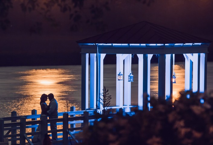 Bride and Groom on the Pier at Creek Club at I'On