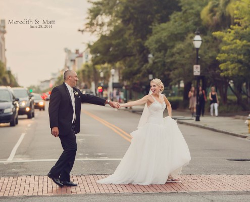 Bride and Groom Crossing King Street
