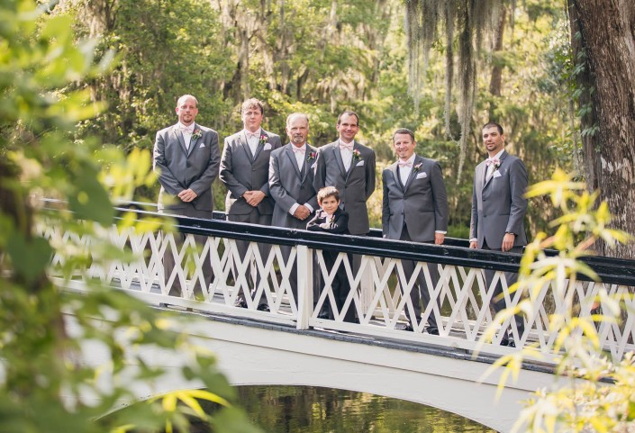 Groomsmen on the Magnolia Plantation White Bridge