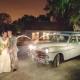 Classic car wedding getaway vehicle