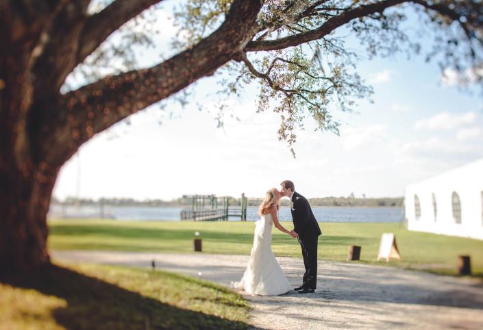 Large Oak Tree Bride and Groom