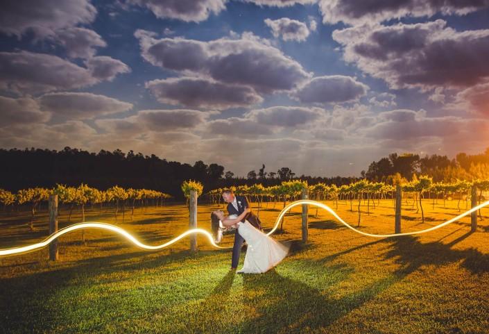 Bride and Groom Night shot in a vineyard