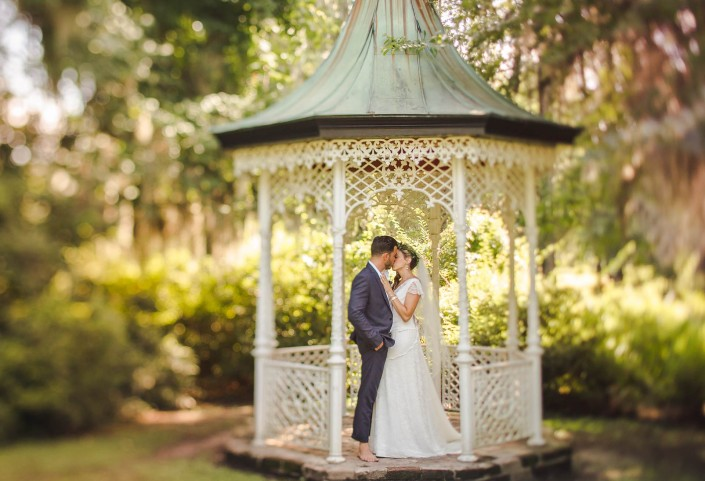 Magnolia Gazebo Bride and Groom