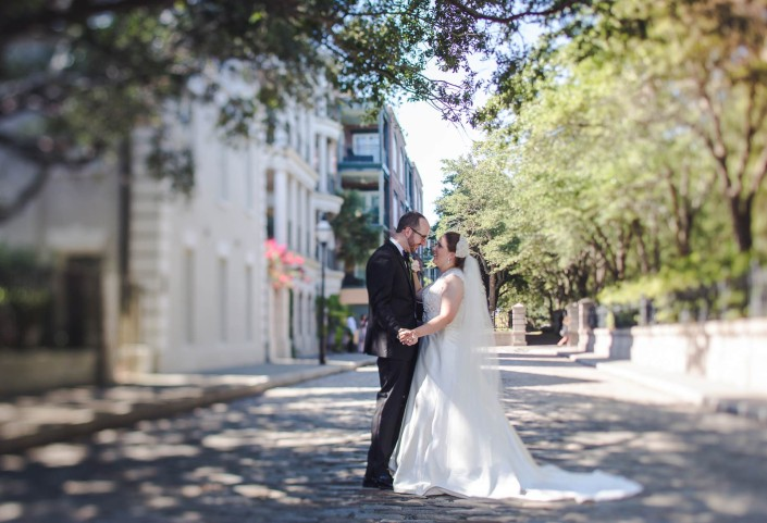 Downtown Charleston Bride and Groom Portrait