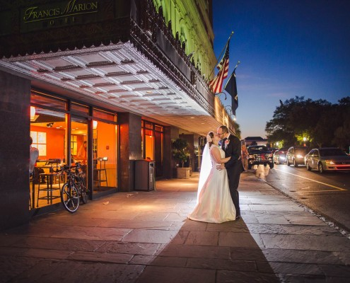 Francis Marion Hotel Wedding portrait night shot