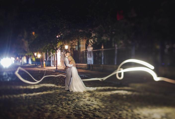 downtown charleston night portrait wedding