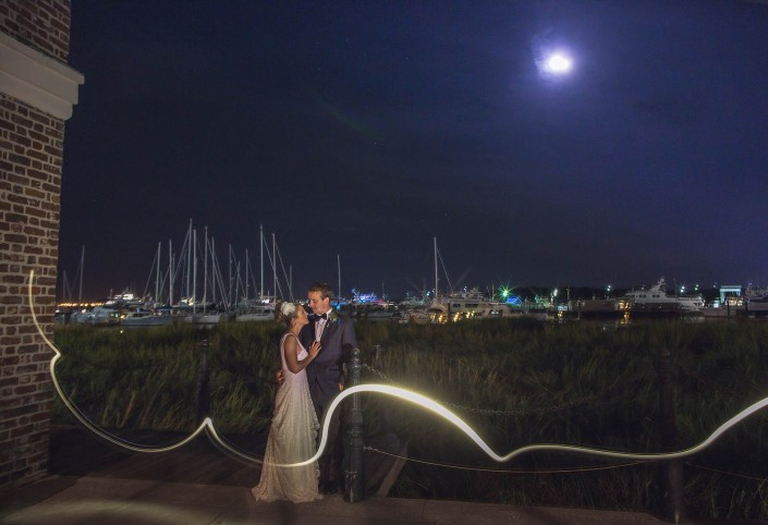 Charleston Harbor Night Shot Bride and groom