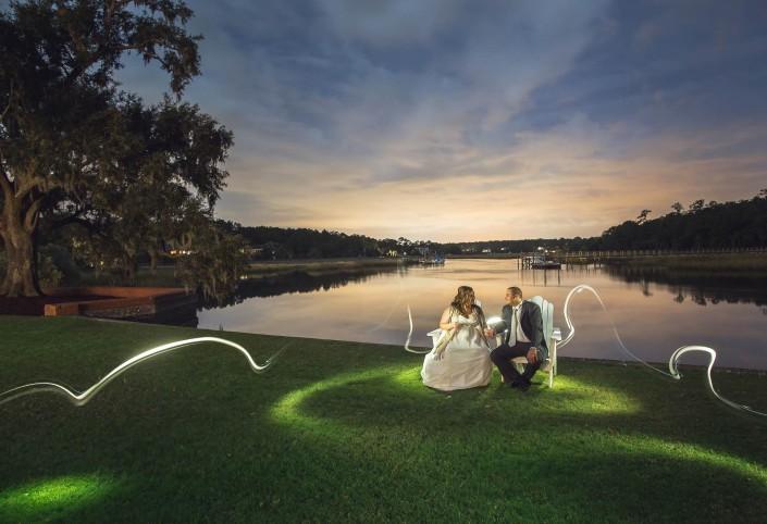 River Wedding Night Portrait