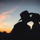 cowboyhat sunset portrait bride and groom