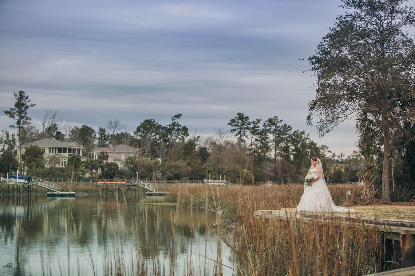 Bridal Portrait Over the Marsh