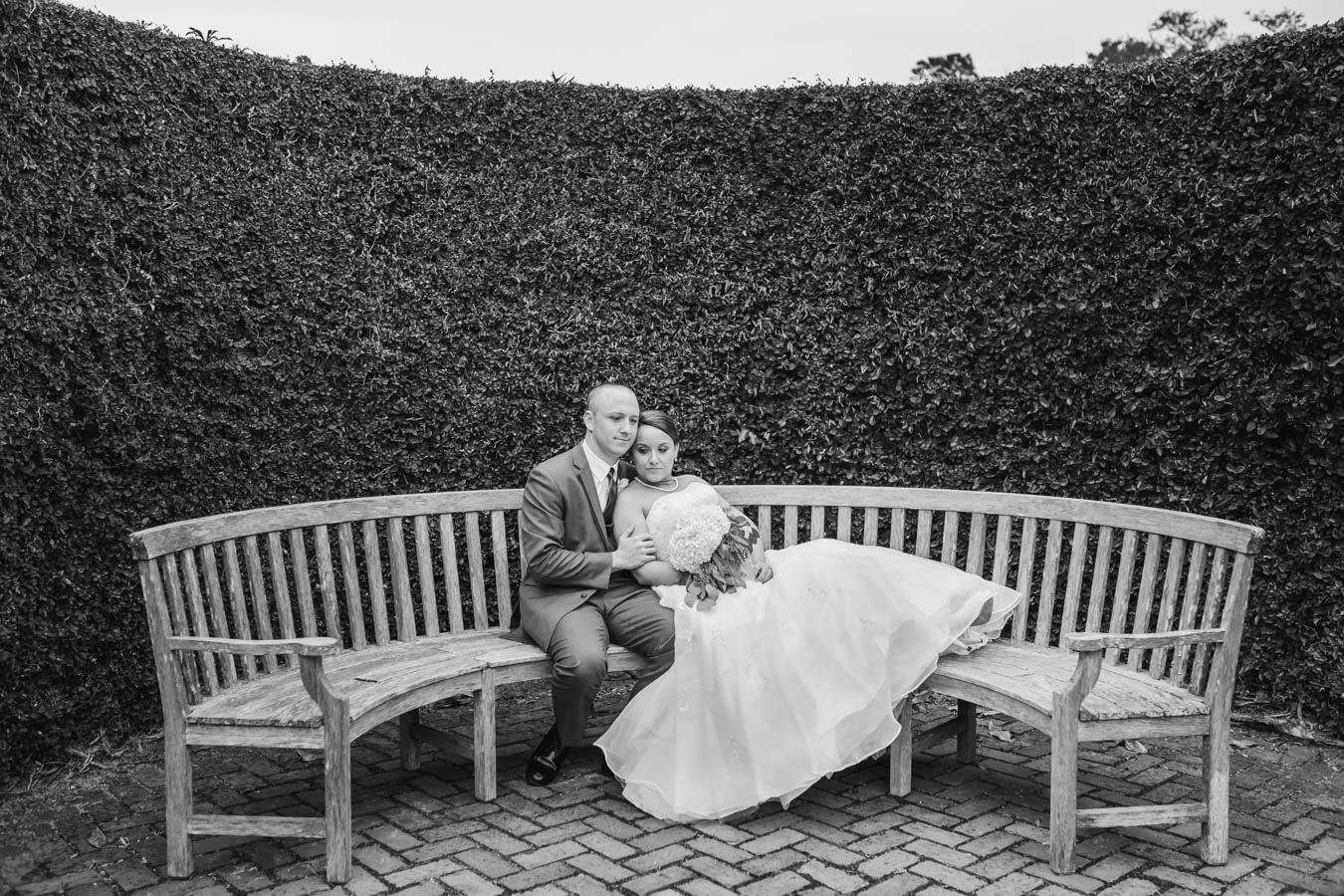 Black and White photo of the bride and groom