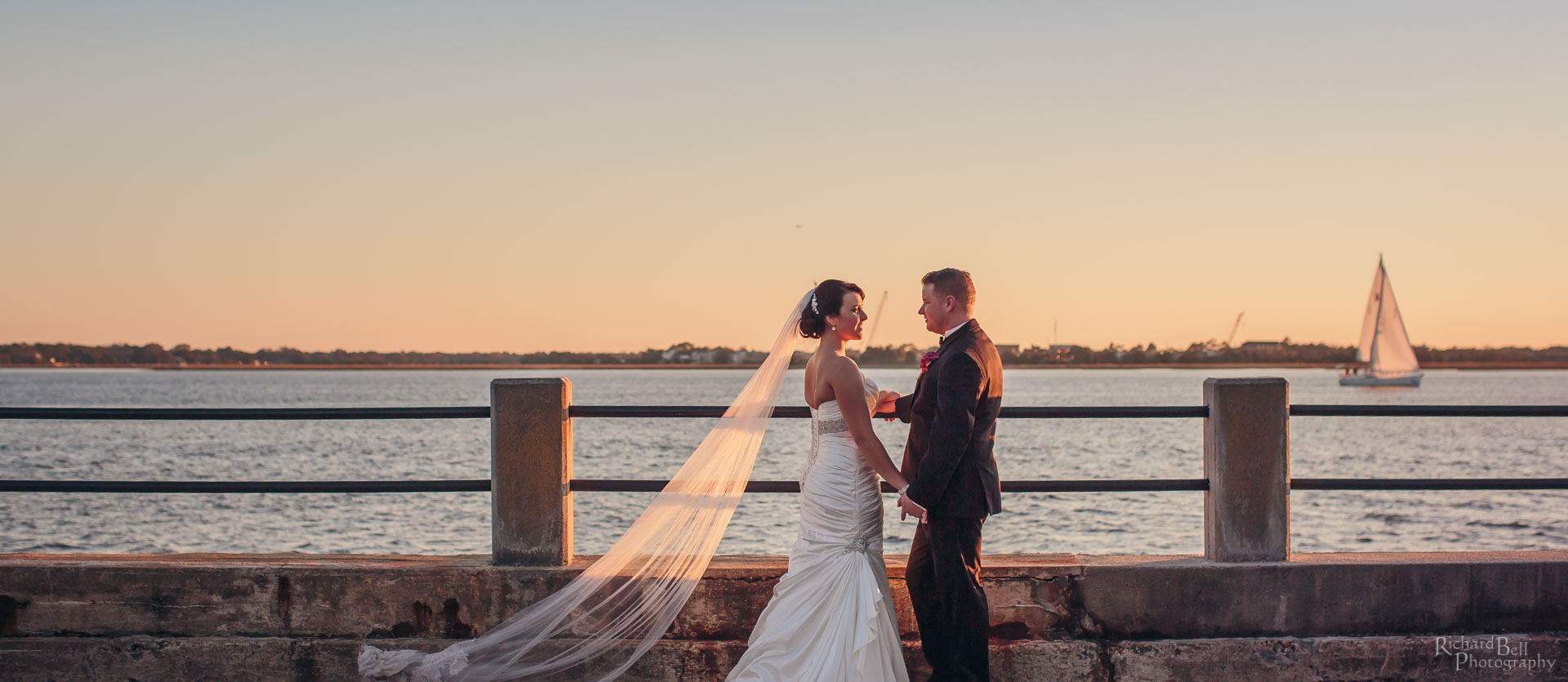 Bride and Groom at Charleston Battery