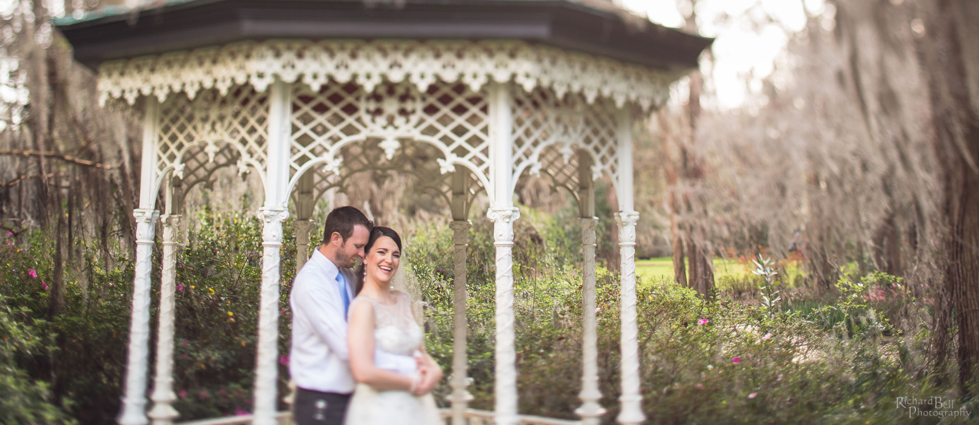 Bride and Groom in Gazebo