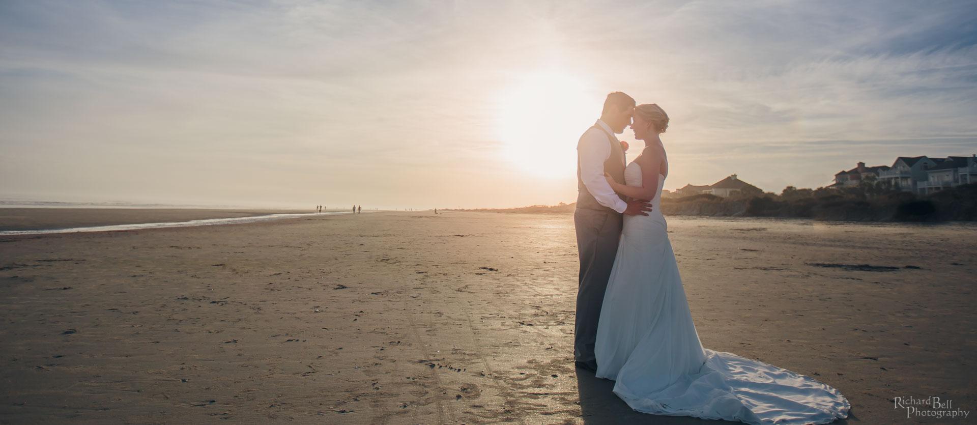 Bride and Groom on beach of Wild Dunes