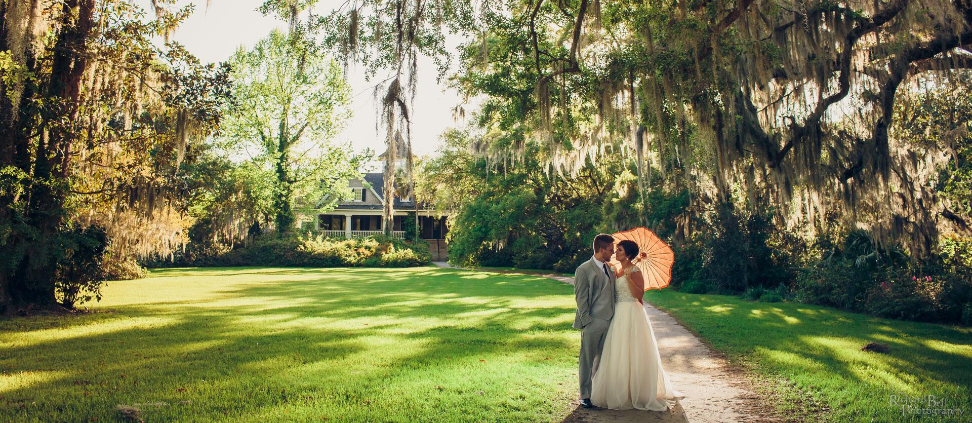 Bride and Groom at Magnolia