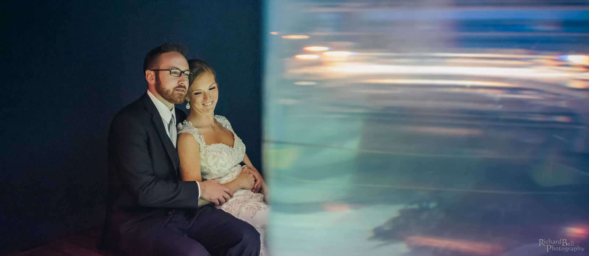 Bride and Groom at fish tank