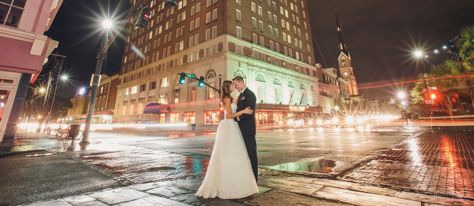 Bride and Groom outside Francis Marion