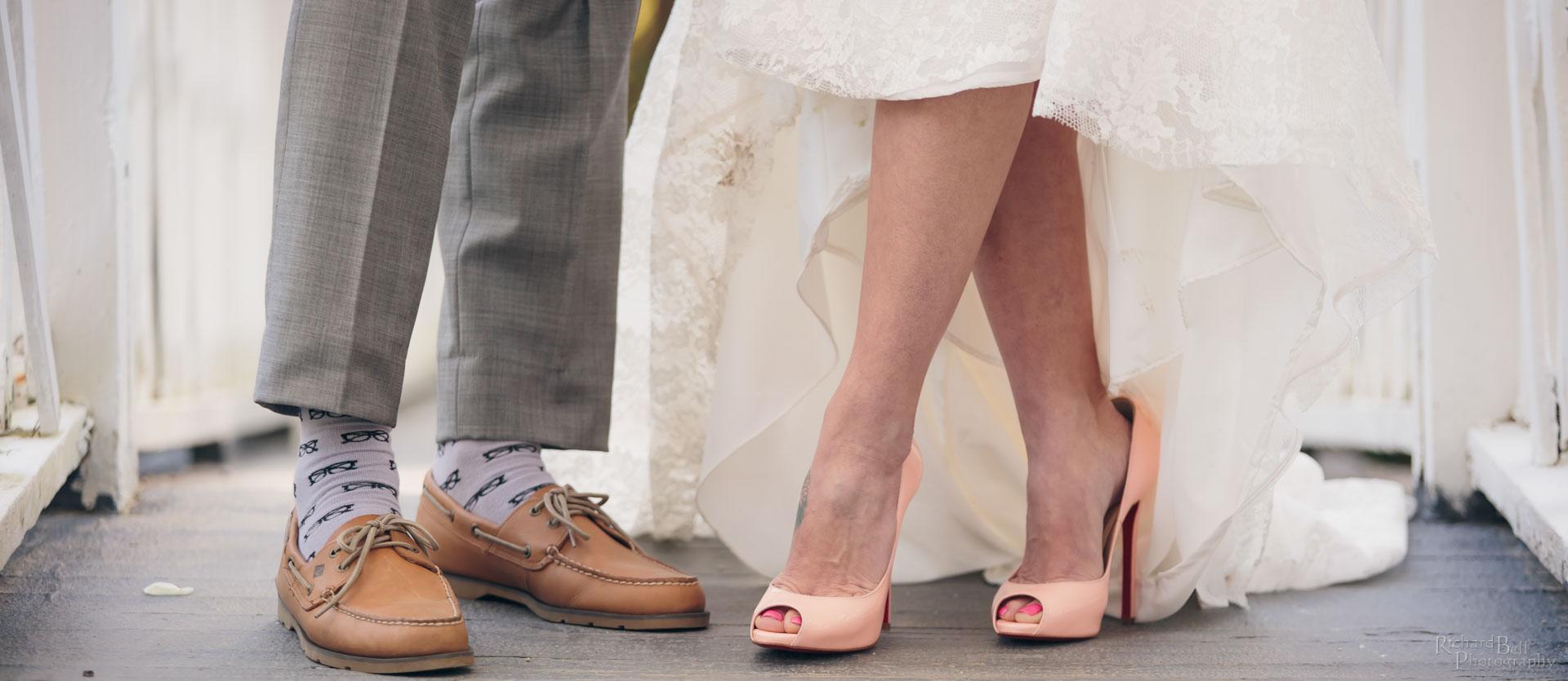 Feet on bridge