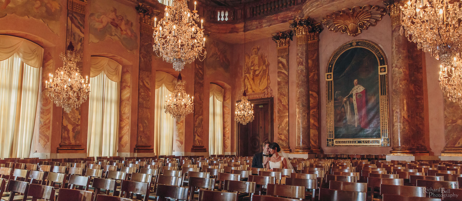 Bride and Groom in Palace Room