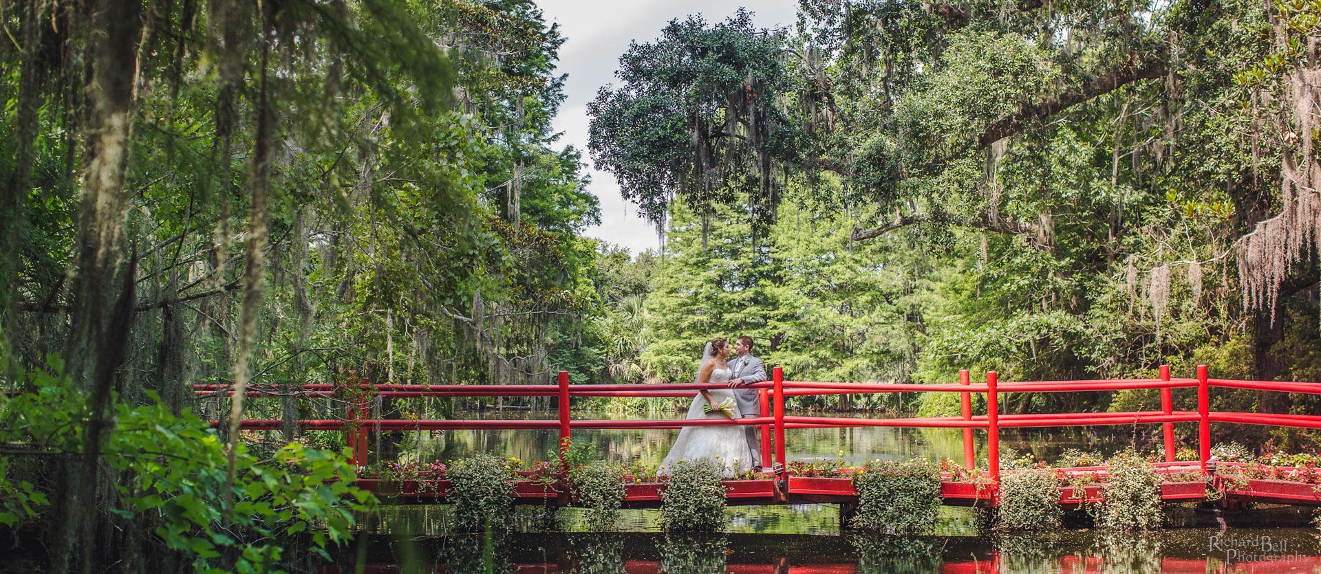 Bride and Groom on Red Bridge
