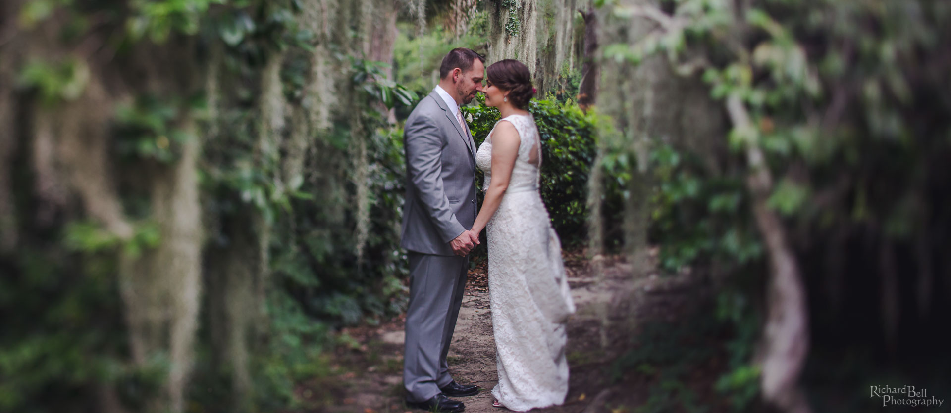 Bride and Groom with Spanish Moss
